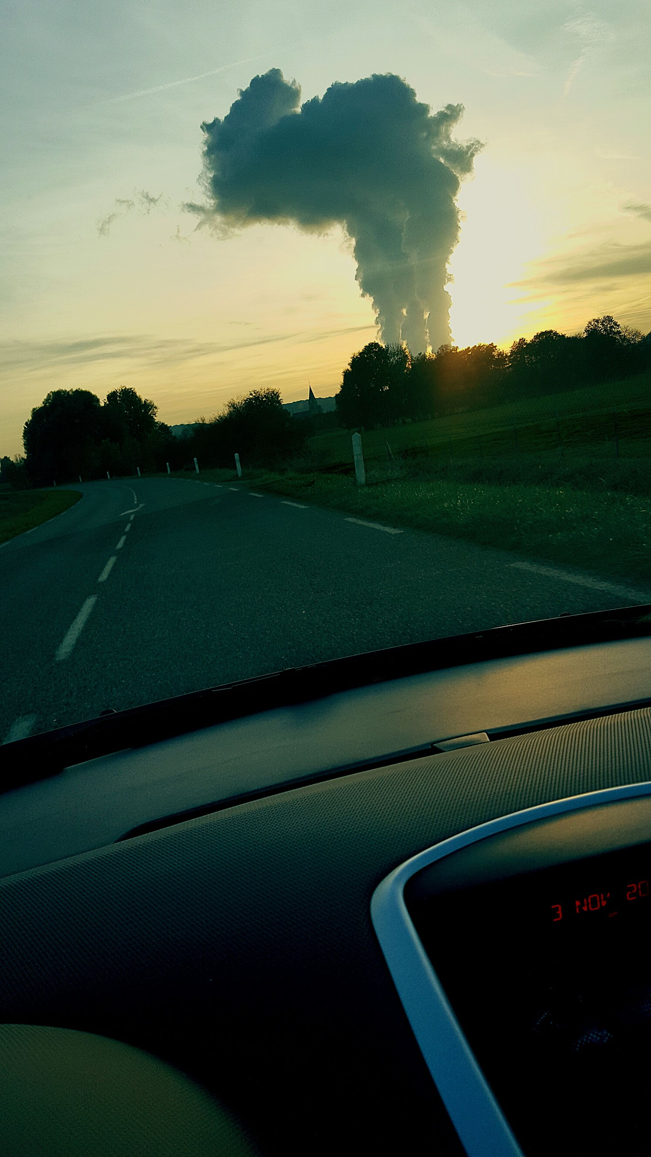transportation, tree, car, sky, sunset, no people, road, nature, outdoors, day, close-up