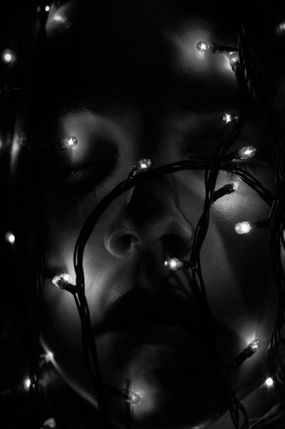 Black And White Portrait Christmas Lights Close-up Creative Light And Shadow Experimenting Indoors  Portrait Self Portrait Selfie Time Selfie ✌