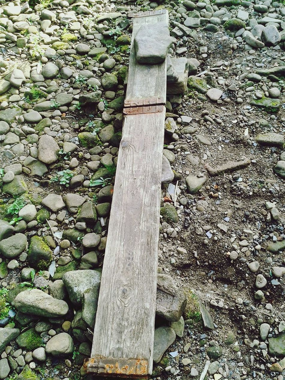 Riverscape Pebbles Planks Lonely Hinges Rusty WalkThePlank Ryburn Riverbed Sunlight And Shadow Autumn Colors