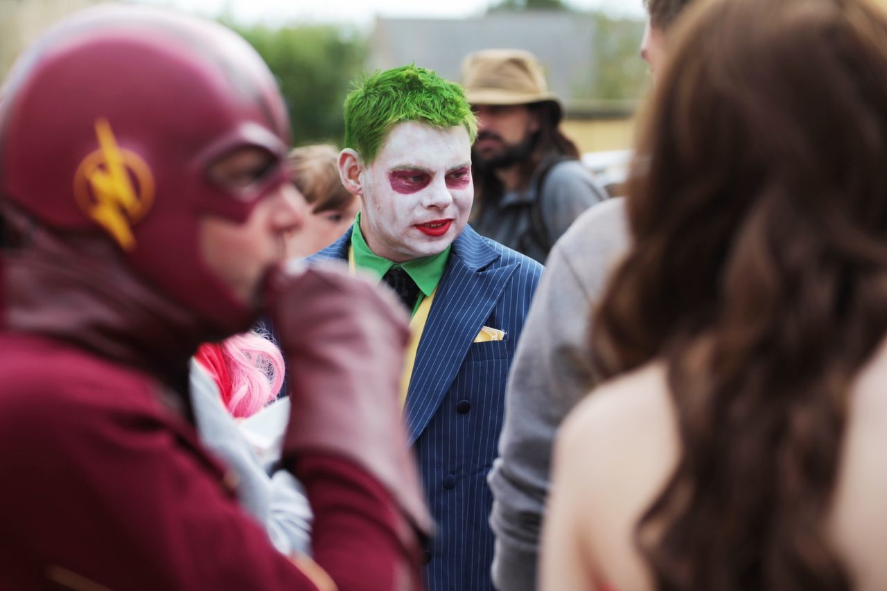 Spectator People Crowd Group Of People Headshot Togetherness Event Fan - Enthusiast Watching Fantasy Fans Superhero HERO Check This Out Science Fiction Sci-fi Portrait Makeup MOVIE Flash Joker Mafia  Enjoy The New Normal