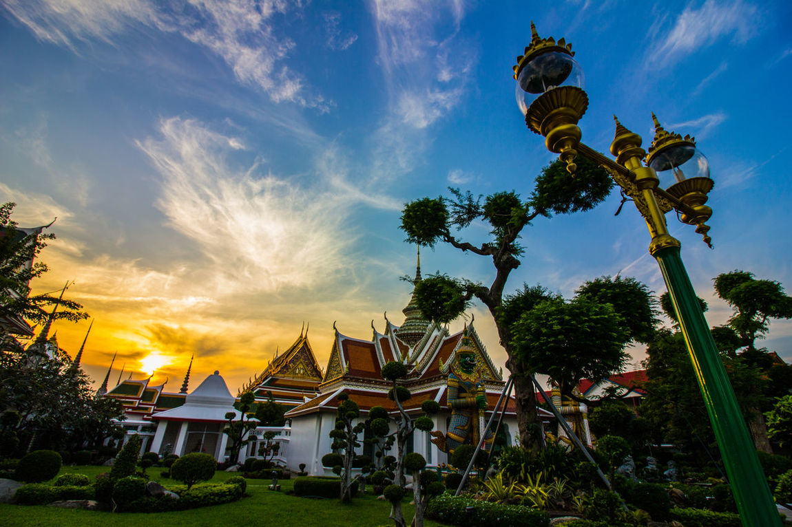 Amazing Architecture Bangkok Buddhism Building Exterior Built Structure Cloud - Sky Culture Day Grass Kulturgut Nature No People Outdoors Peace Reiselust Sculpture Sky Sunset Temple Thailand Travel Destinations Travel Photography Tree Wat Arun The Architect - 2017 EyeEm Awards EyeEmNewHere EyeEm Selects Breathing Space