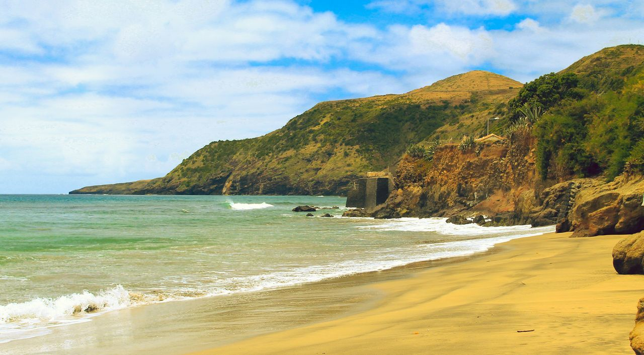Edge Of The World Azores Portugal Santa Maria Beach Landscape Golden Sunkissed