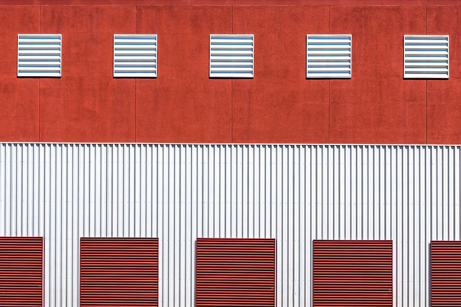 Architecture Architecture_collection Background Backgrounds Building Building Exterior Copy Space Corrugated Iron Day Full Frame Geometric Shape Minimal Minimalist Architecture No People Outdoors Pattern Red Shutter Striped
