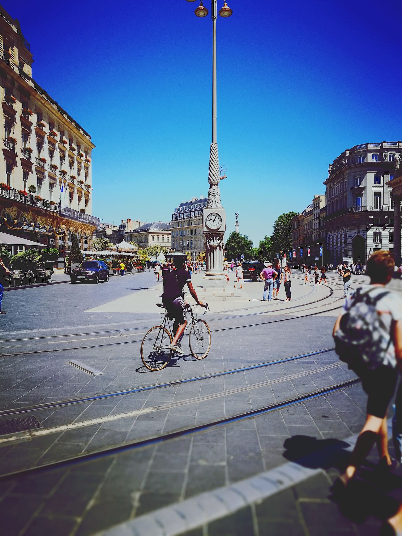City Street Large Group Of People Clear Sky Architecture Bicycle City Life Bordeauxmaville Bordeauxtourism