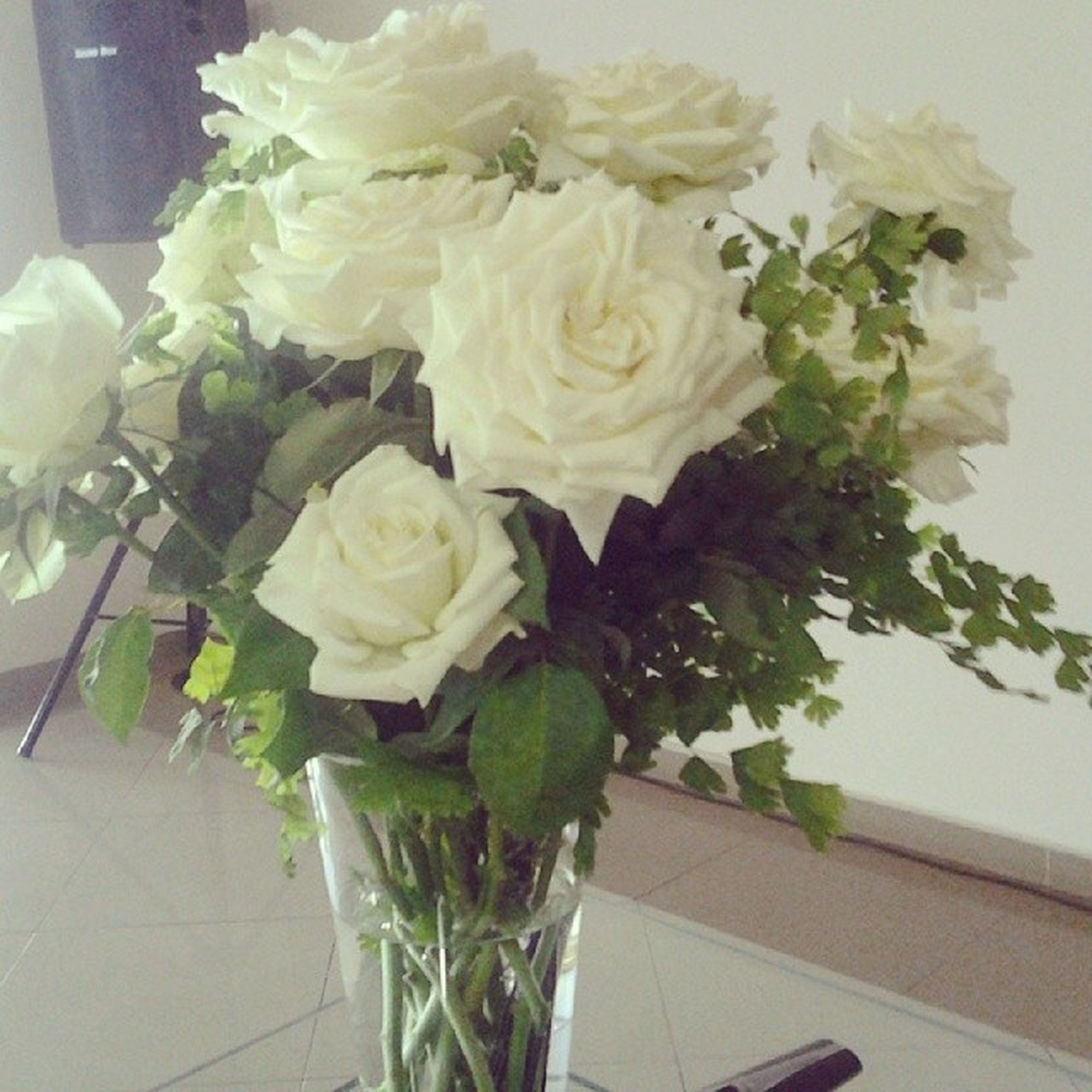 flower, indoors, freshness, vase, bouquet, rose - flower, fragility, petal, table, flower head, flower arrangement, bunch of flowers, high angle view, decoration, still life, close-up, beauty in nature, white color, no people, potted plant