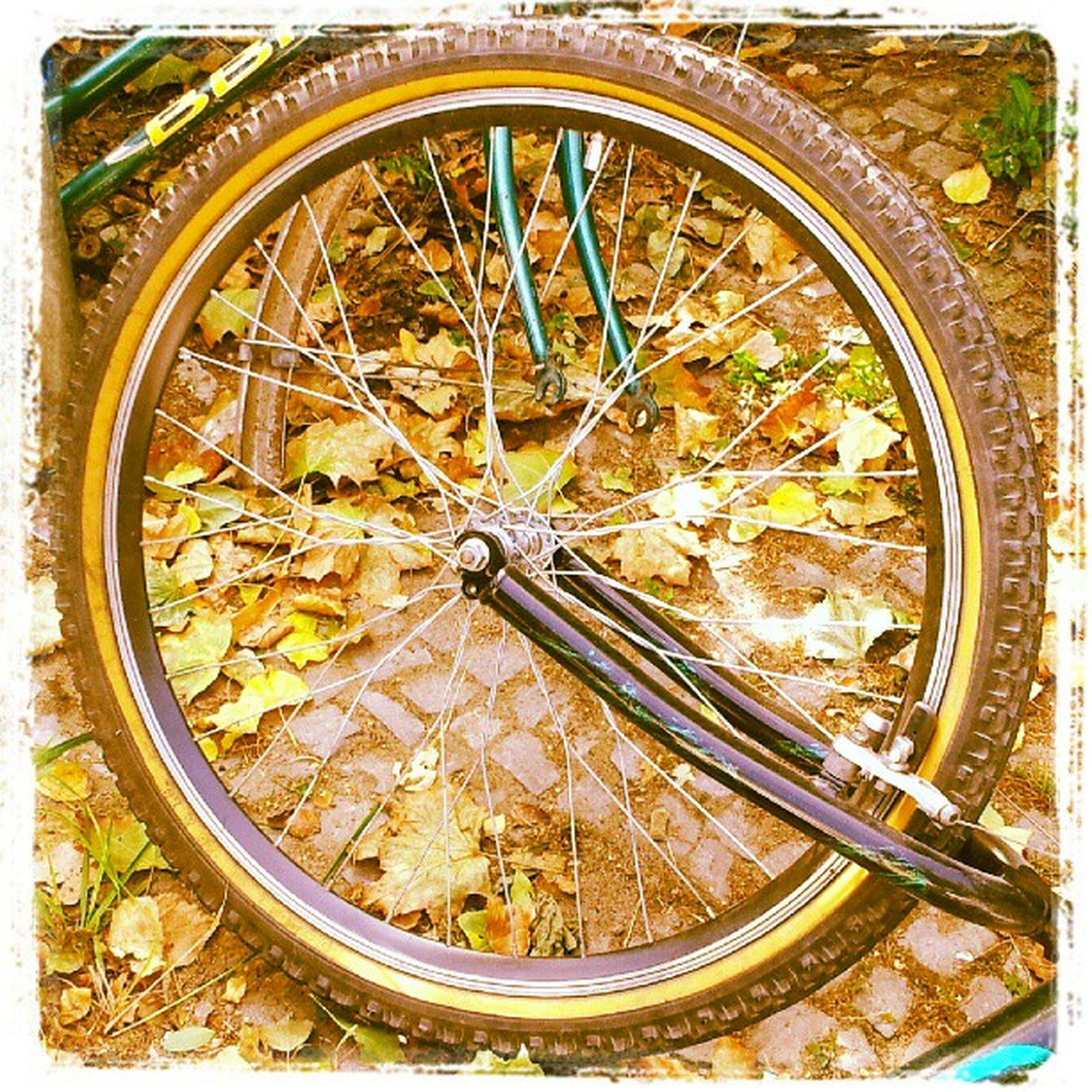 wheel, bicycle, transportation, tire, land vehicle, auto post production filter, mode of transport, circle, high angle view, transfer print, day, metal, no people, outdoors, stationary, art and craft, old, part of, close-up, built structure