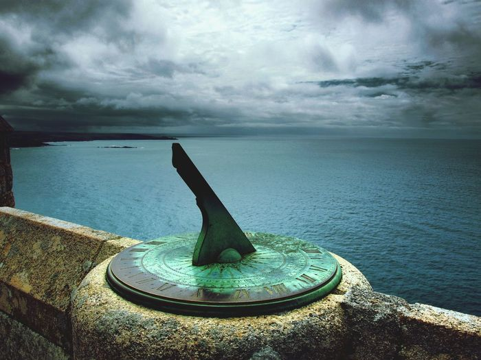 St Michaels Mount Cornwall Sundial Stone Wall Architectural Detail Architectural Feature Weathered Sky And Clouds Moody Sky Sea Coast Cornish Coast Island Castle