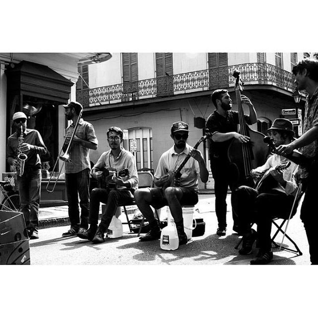 The Band Plays On Neworleans NOLA Louisiana Thisisneworleans music streetperformers oldtimey streetportrait streetphotography candid blackandwhite bnw monochrome 35mm canon travel yearoftravel photooftheday