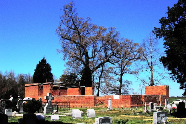 Lawnes Creek Parish Church and Cemetery, Surry County, VA Architecture Bare Tree Beauty In Nature Blue Built Structure Cemetery Clear Sky Day Grass Graveyard Beauty Growth Historical Building Landscape Nature No People Outdoors Sky Sunlight Tranquility Tree