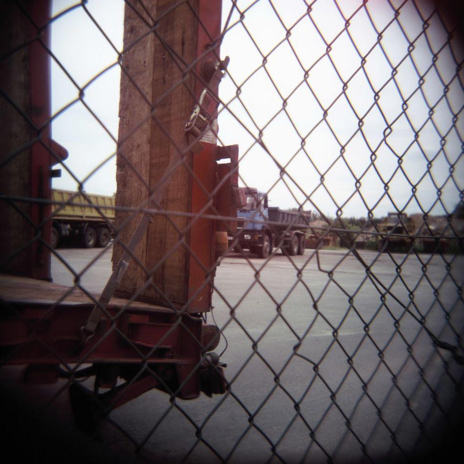 Fence Lomography Semitrailer Truck Vignette