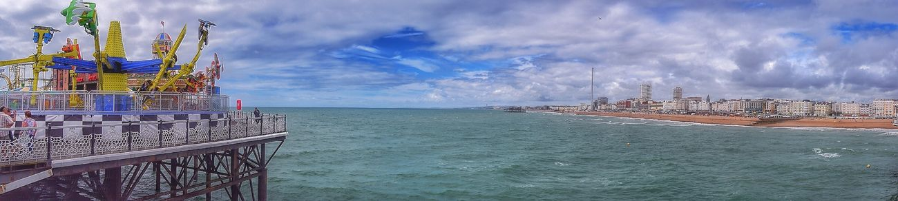 Looking back inland to Brighton from the pier. Taking Photos Enjoying Life Relaxing Tranquility Photography Is My Escape From Reality! Malephotographerofthemonth EyeEm Nature Lover Clouds And Sky Brighton Beach Brighton Panorama Panoramic Photography