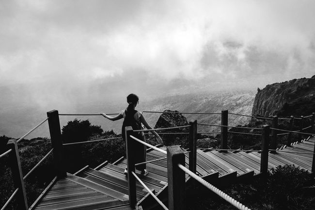 Climbing down the clouds Railing Sky Rear View Monochrome Photography Monochrome Cloud - Sky Scenics Solitude Tranquility At The Edge Of Person Observation Point Hallasan Mt. Halla Girl From Behind Dramatic Angles Hiking Climbing Climbing A Mountain Blackandwhite Korea Jeju JEJU ISLAND  Mountain View