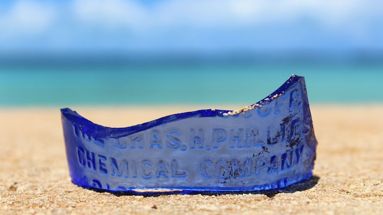 Old Blue Beach Blue Blue Glass Broken Bottle Broken Glass Broken Glasses Close-up Day Horizon Over Water Nature No People Old Bottle Outdoors Sand Sea Single Object Sky Tropical Climate Water