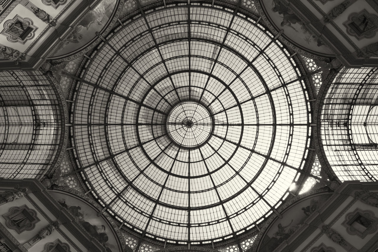 ceiling, dome, indoors, architectural feature, architecture, low angle view, built structure, cupola, skylight, architecture and art, pattern, architectural design, modern, travel destinations, no people, day