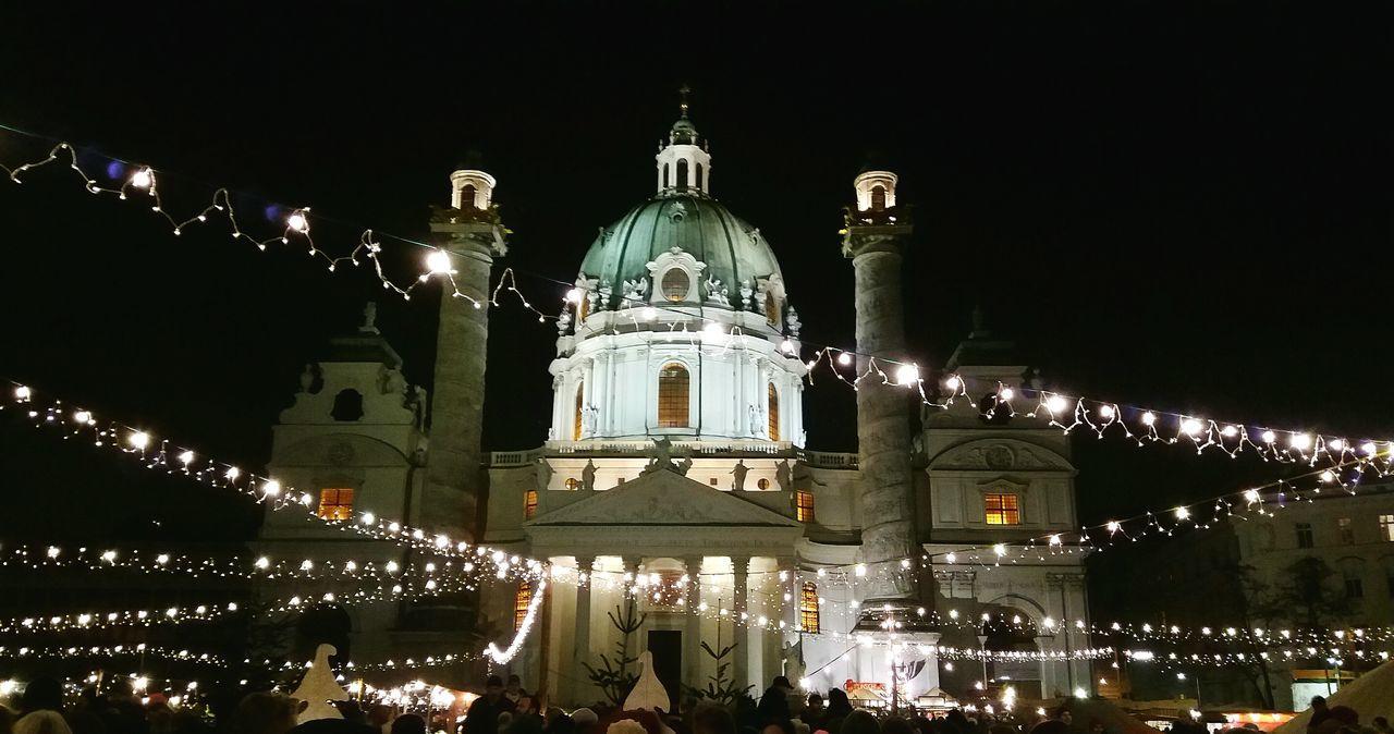 Mobilephonephotography Karlskirche in Vienna Church At Night  Weihnachtsmarkt Christmas Market