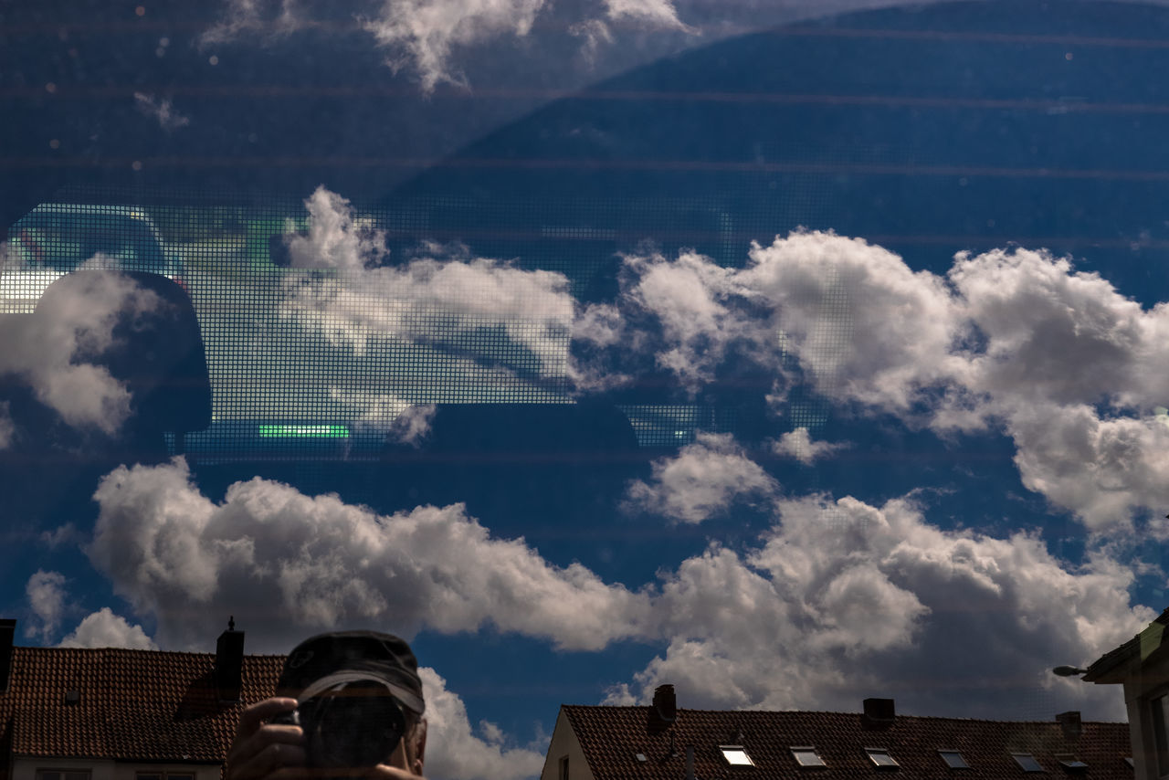 Selfie with car Camera Grid Low Angle View Blue Sky Clouds And Sky Rear Window Reflection In The Window Roofs Self Portrait Selfie Strange Effects Summer
