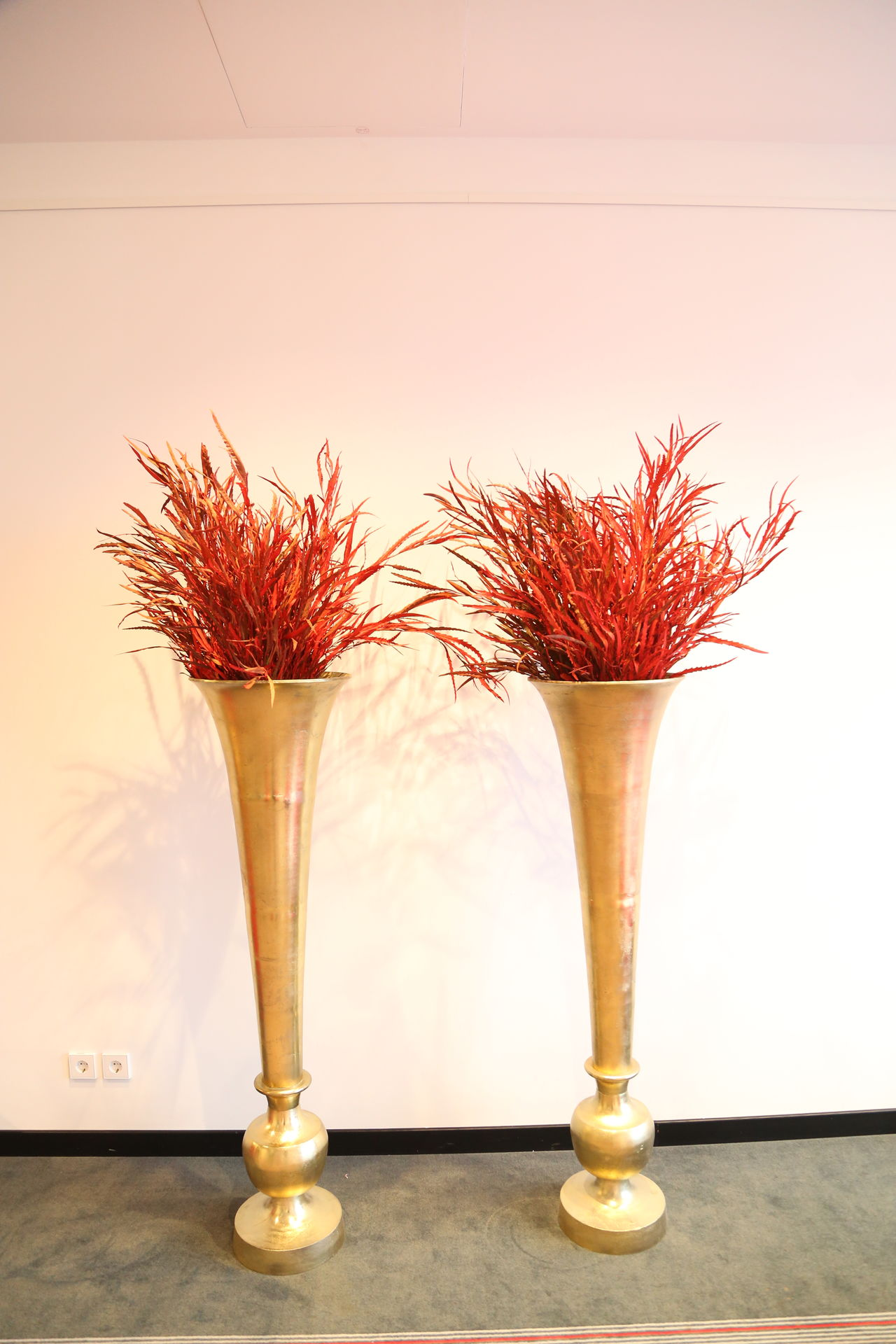 Day Decoration Golden Vases Indoors  No People Red Flowers Twins Vases