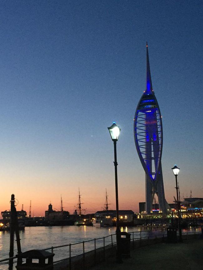 Portsmouth Nightscape Dusk England Night Lights Seaside Outdoors City Life