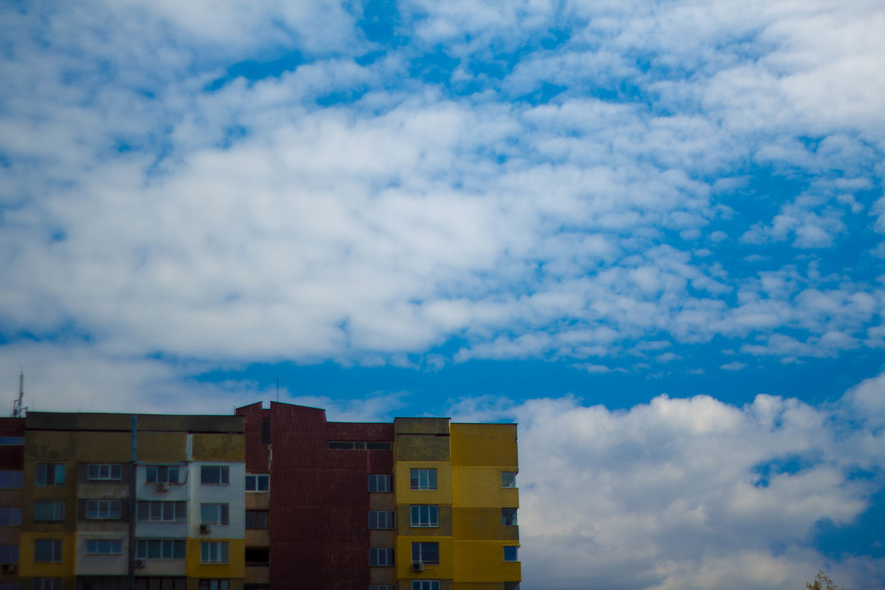 sky, cloud - sky, no people, architecture, building exterior, low angle view, day, blue, outdoors, nature