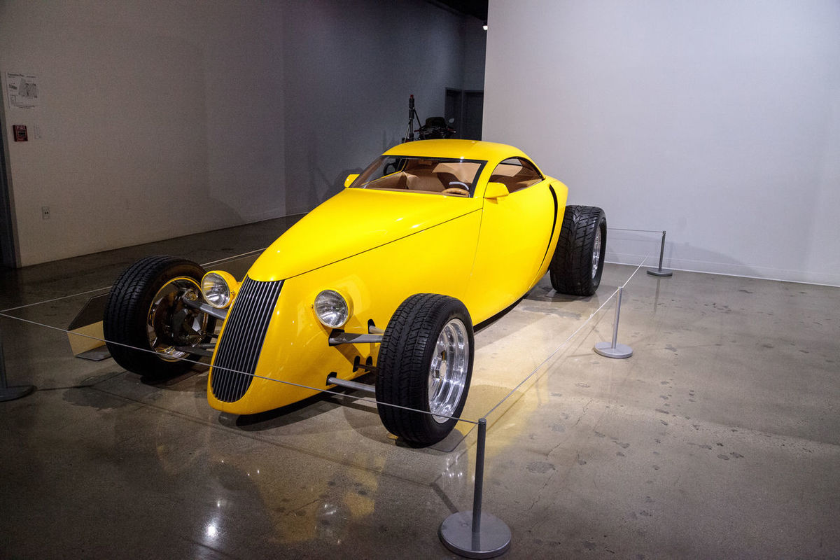 Los Angeles, CA, USA - March 4, 2017: Yellow 1992 Aluma coupe by Boyd Coddington from the collection of David Sydorick at the Petersen Automotive Museum in Los Angeles, California, United States. Editorial only. 1992 Aluma Antique Classic Car Coupè Day Fast Car No People Old Car Outdoors Petersen Automotive Museum Race Car Racer Vintage Car Yellow Yellow Color
