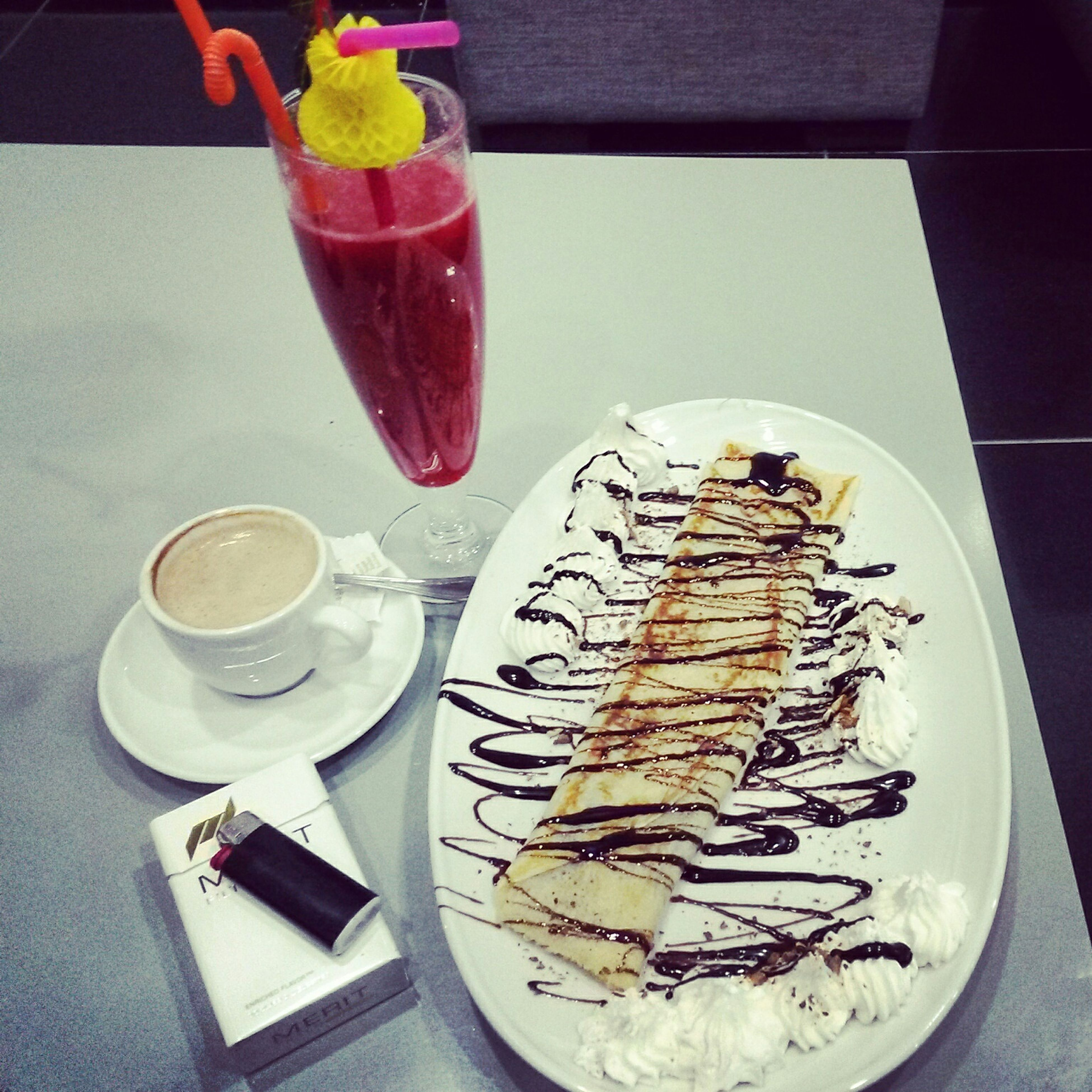 Relaxing 😊 🎶 !!! Crêpes Strawberry Juice Coffee And Cigarettes Peace ✌ ❤
