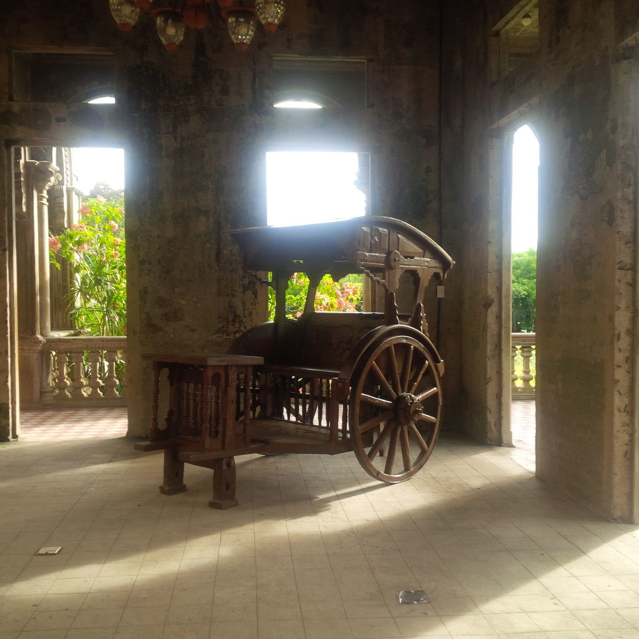 transportation, history, indoors, mode of transport, architectural column, horse cart, ancient, no people, tree, day, illuminated, architecture, mammal