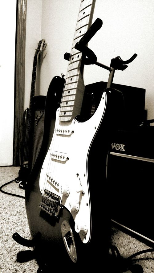 Fender Stratocaster Fenderamp Voxamp Blackandwhite Photography Taking Photos Hello World Music Brings Us Together Electric Guitar Stringed_instrument