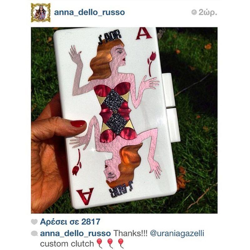 @anna_dello_russo custom made Queen AdR! ? Mille Grazie ?❤? Uraniagazelli AnnadelloRusso ADR Uraniagazelliforadr custommadeclutch onlyforadr onlyforannadellorusso specialedition veryhappy madeingreece ranol plexiglassclutch