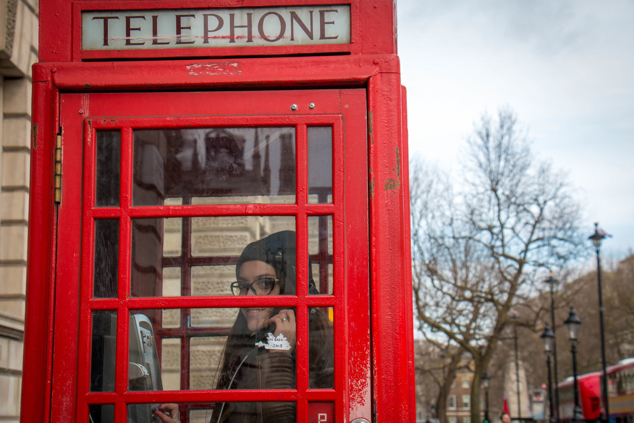 Communication Day London No People Outdoors Pay Phone Phone Booth Red Red Phone Boxes Telephone Booth