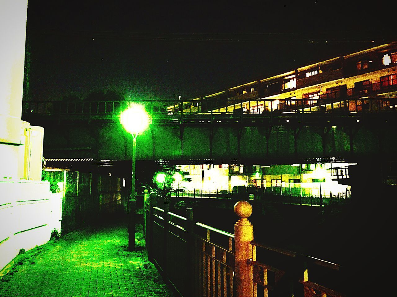 Night Illuminated Built Structure Bridge - Man Made Structure Green Color Connection Architecture Outdoors No People Water Building Exterior Nature Sky まーだ、ダイエット始めなきゃ。。
