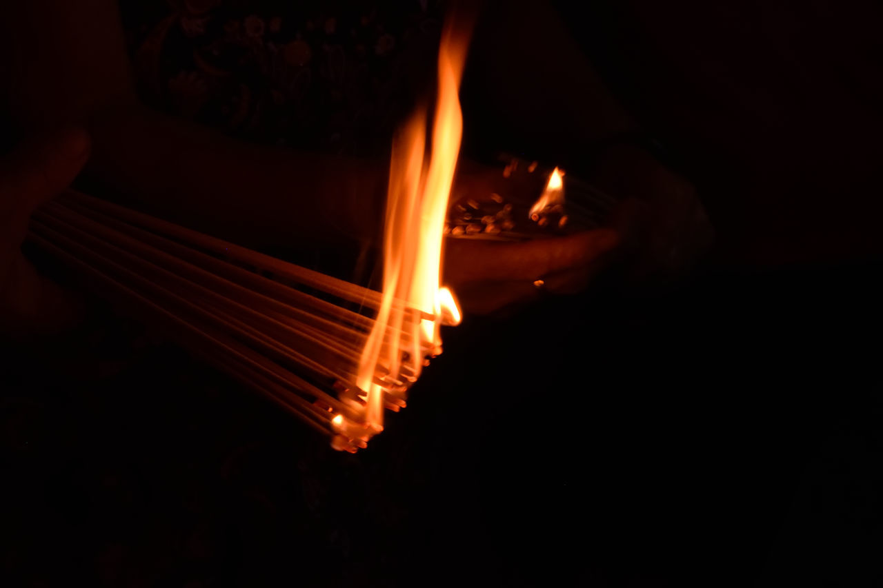 Heat - Temperature Flame Fire - Natural Phenomenon Burning Night No People Illuminated Close-up Outdoors Traditional Chinese Traditions Burners On Fire Burning Stick Chinesenewyear Chinese New Year Chinese Style Malaysia Wanderlust Human Hand Burning Traditional Culture Herritage Georgetown