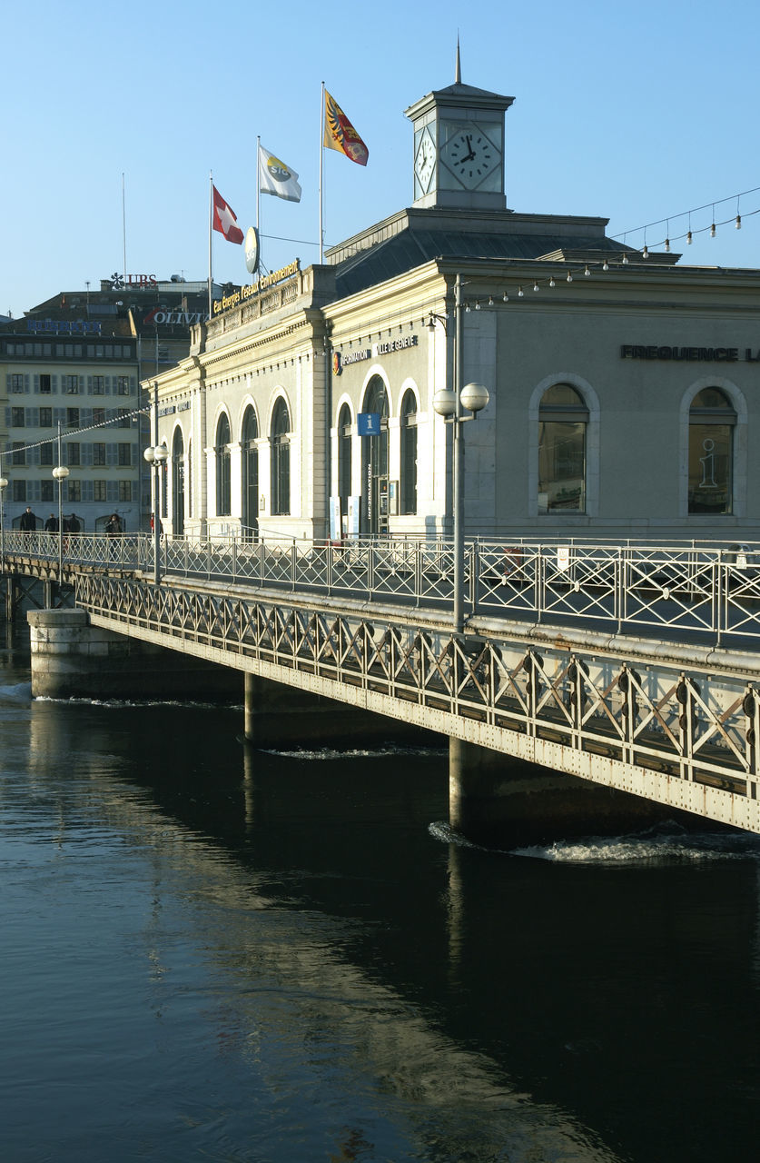 Bridge Over River By Buildings