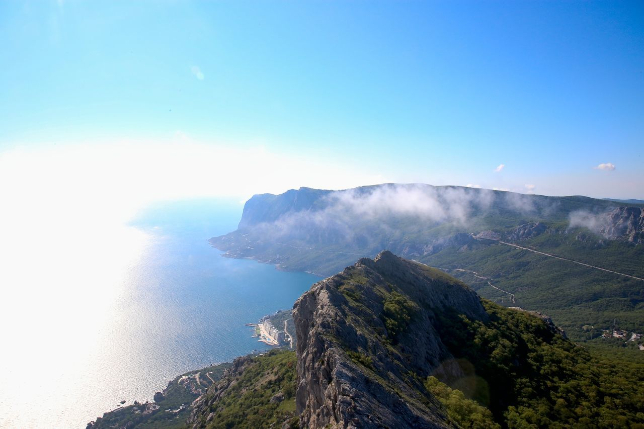 Beautiful view of the coast. Bay Beauty In Nature Cloud - Sky Day Erupting Harbor Landscape Landscape_Collection Mountain Nature Nature_collection No People Outdoors Physical Geography Sea Sky Up Valley