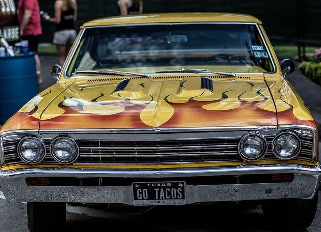 Old Car PaintJob Yellow Houston Flames