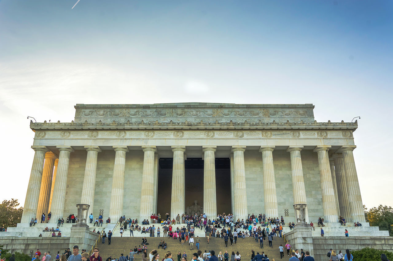 Adults Only Architectural Column Architecture Building Exterior Built Structure City Clear Sky Day Façade Government History Large Group Of People Lifestyles Lincoln Memorial Low Angle View Men Outdoors Pediment People Politics And Government Real People Tourism Tourist Travel Travel Destinations