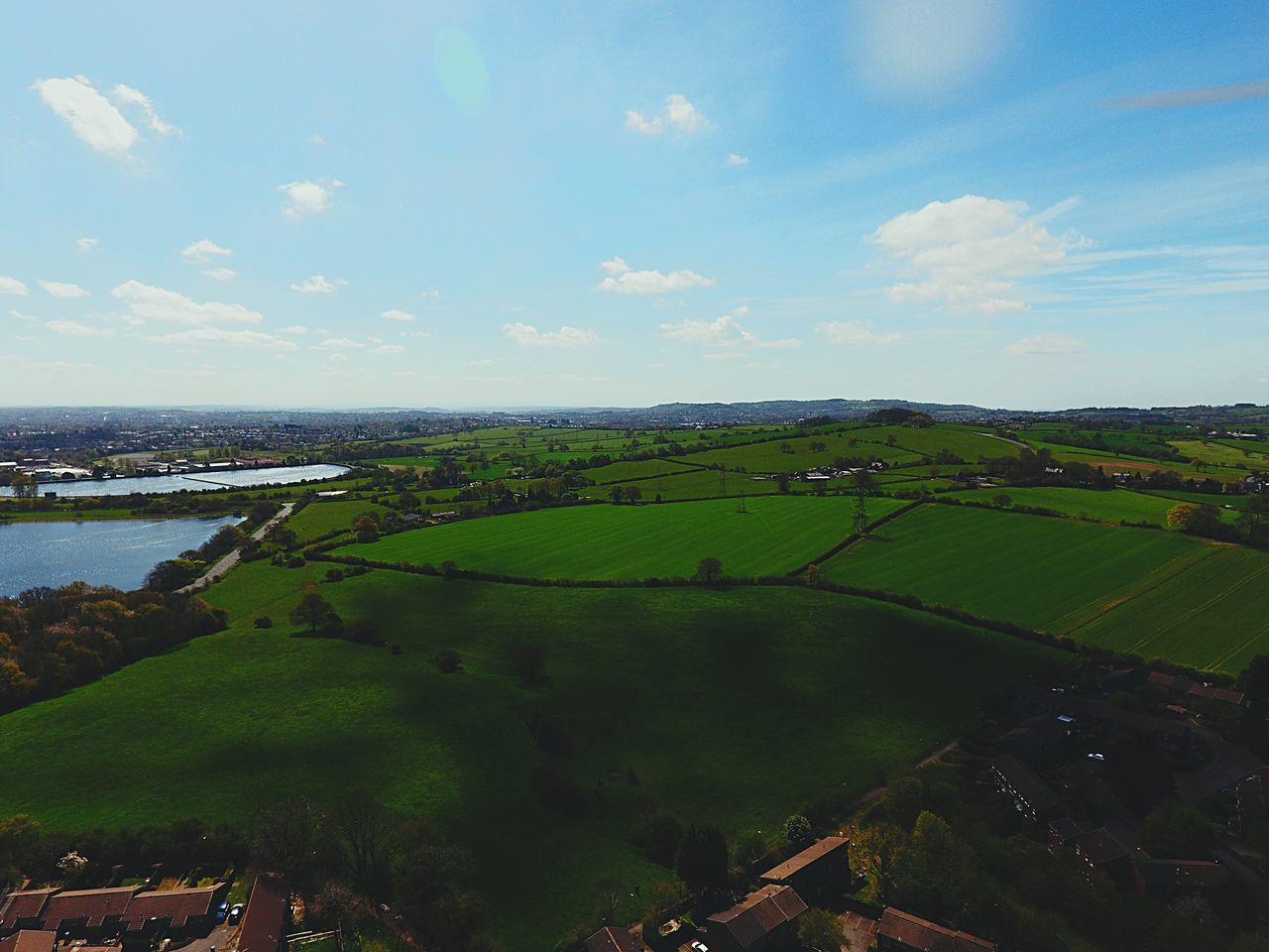 Aerial View Beauty In Nature Blue Cloud Cloud - Sky Day Grass Green Green Color Growth Hill Horizon Over Land Idyllic Landscape Nature No People Outdoors Remote Rural Scene Scenics Sky Tranquil Scene Tranquility Travel Destinations Water