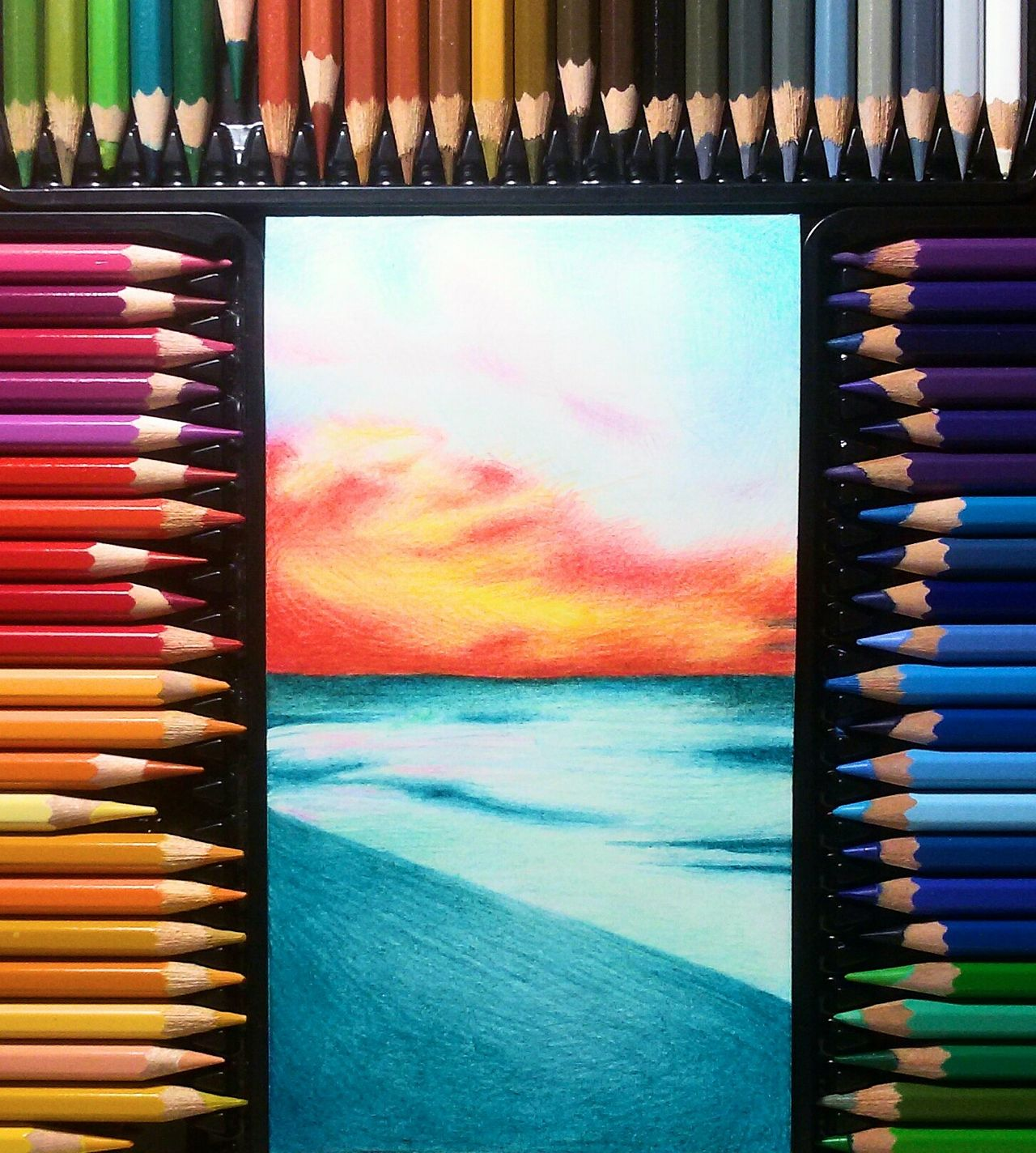 Relax. Drawing ✏ Draw Masterpiece Art And Craft ArtWork Artworkoftheday Indoors  No People Colored Pencil Kohinoor Prismacolor Floweer Art Tomsk Artoftheday EyeEm Best Shots - Nature Sky EyeEm Best Shots - Sunsets + Sunrise Tranquil SceneEyeEmBestPics D5100 Landscape Cloud - Sky Photooftheday Sunset