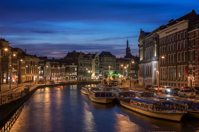Amsterdam, Rokin Amsterdam Architecture Canal Canal Houses Capital Cities  Cityscape Dutch Evening Historical Building Nederland Netherlands Travel Destinations Waterfront