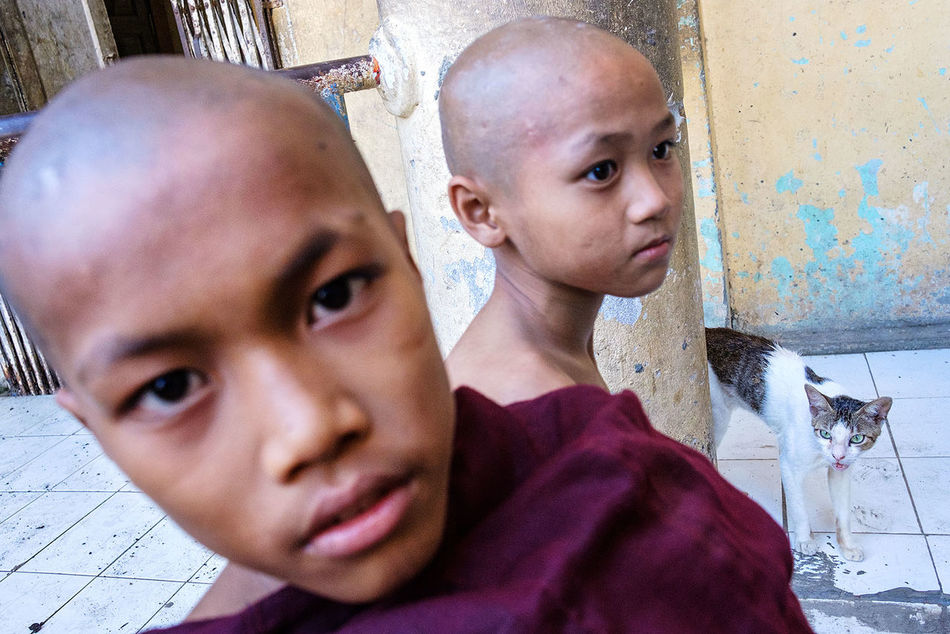 Young novice monks in in a Buddhist monastery in Mawlamyine, Myanmar. People Street Photography Travel Photography Monastery FUJIFILM X-T2 Myanmar Fujifilm_xseries Portrait Novice Mawlamyaing Mawlamyine Fujifilm