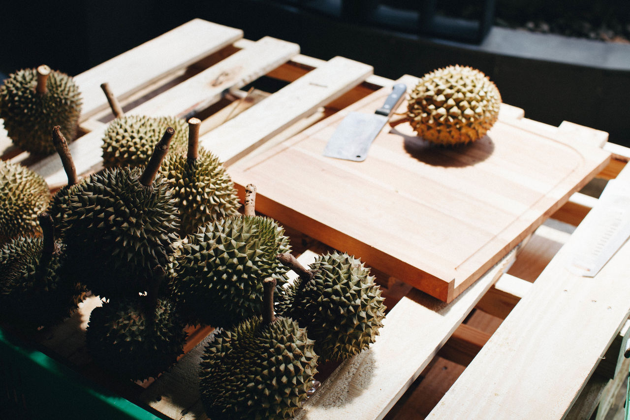 Abundance Basket Close-up Day Durian Exotic Fruit Exotic Fruits Focus On Foreground Food Freshness Group Of Objects Growth Large Group Of Objects Market Nature No People Organic Ripe Selective Focus Still Life Thai Fruit Thailand Wood - Material