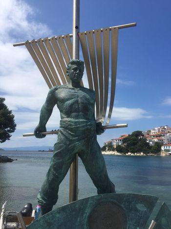 Aleksander Papadiamatis. A sailor at the old port. Greece Photos Skiathos Statue Sculpture Art And Craft Sea And Sky