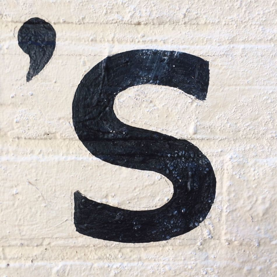 Apostrophe S painted on wall Apostrophe S Letter Apostrophe S Black Painted White Wall Text Font