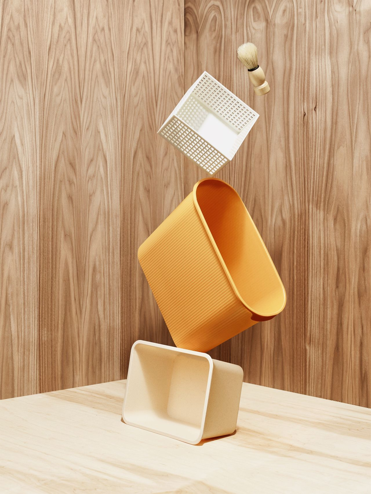 Wood - Material Table Desk Office Indoors  Wood Paneling No People Daiso Studio Shot Wood Grain Shapes And Forms Fresh on Market 2017 Monochromatic Trashcan Shaving Brush Balancing Act Balance Close-up Day