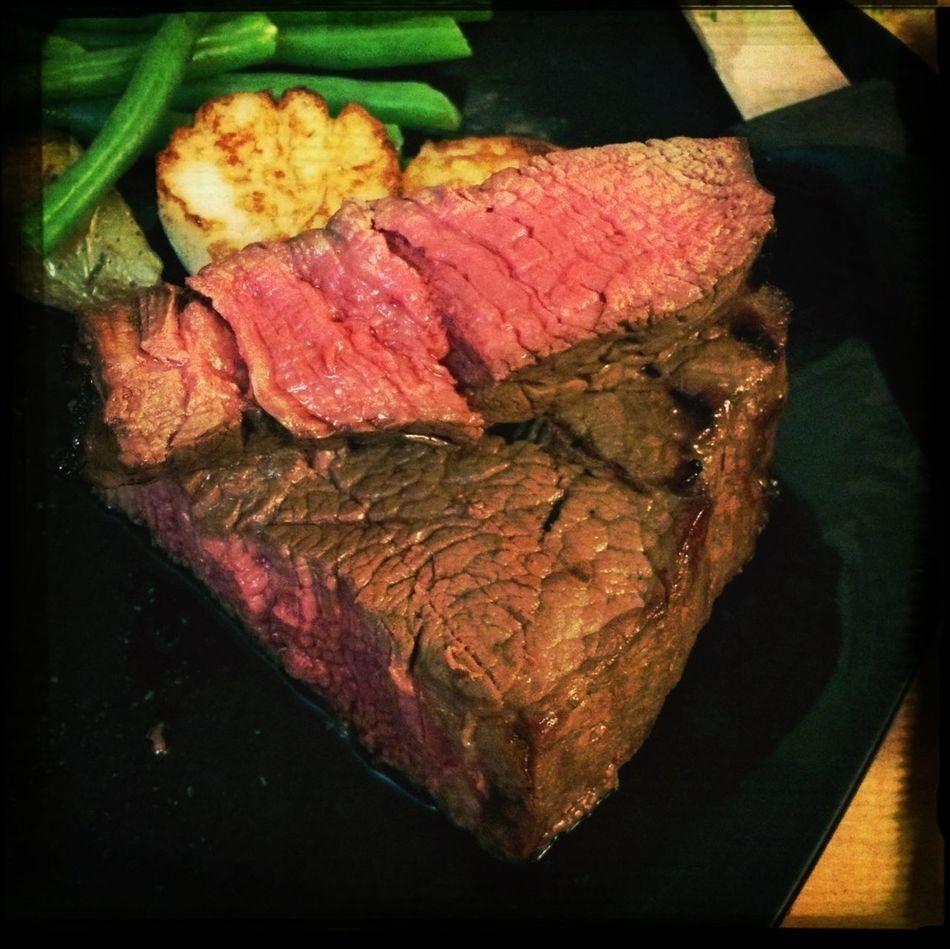 Nailed the steak temperature. Rare. Yum! #FoodSuccess