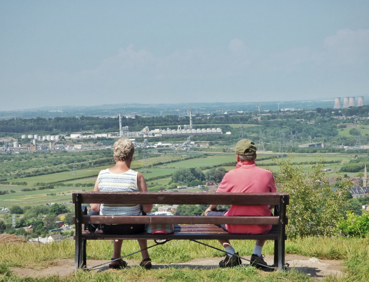 My birthday walk with my parents // Amazing View Beautiful Bench Cheshire Cheshirelife Clear Sky Couple England EyeEm Best Shots Eyeem Market Frodsham ICI Image Industrial Mike Whitby Mum And Dad Photo Photography Relaxation Sitting Sitting Stock Image Stock Photo Taking Photos View