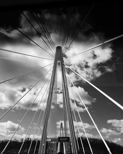The new bridge... Welcome To Kentucky 🛣🛣🛣🛣🛣🛣🛣🛣🛣🛣🛣🛣🛣🛣🛣Kentucky  Welcome Sky Cloud - Sky Bridge Bridges Black And White Exceptional Photographs Leading Lines Architecture_collection Architecture_bw Architectureporn Architecture Photography Black And White Photography Rosie Peach Photography VSCO Galaxy S7 Russell, Kentucky Ironton, Ohio Ironton Bridge Ironton Russell Bridge Russell Kentucky Ironton Ohio IMography Art Is Everywhere