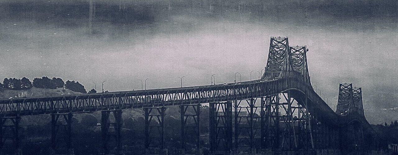 bridge - man made structure, outdoors, no people, built structure, architecture, day, low angle view, fog, sky, city, nature