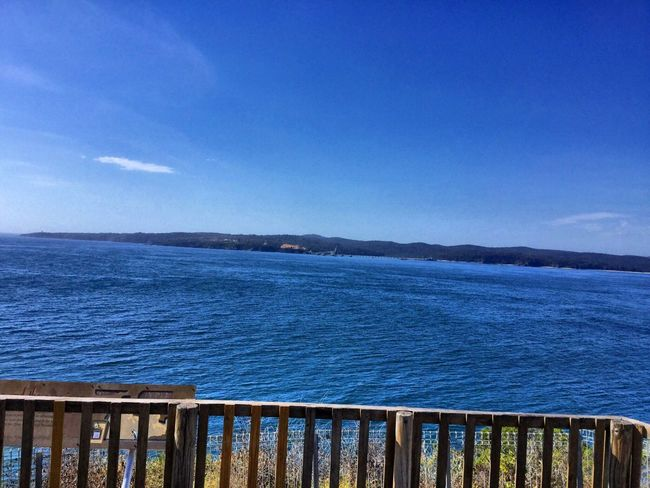 Deep Blue Sea Sky Water Railing Horizon Over Water Taking Pictures Outdoors Blue Beauty In Nature From My Point Of View Capture The Moment Check This Out