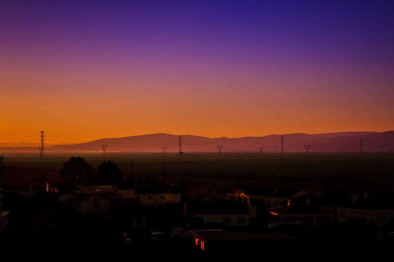 Architecture Beauty In Nature Building Exterior Built Structure Clear Sky Landscape Mountain Nature Night No People Outdoors Scenics Silhouette Sky Sunset Tranquility