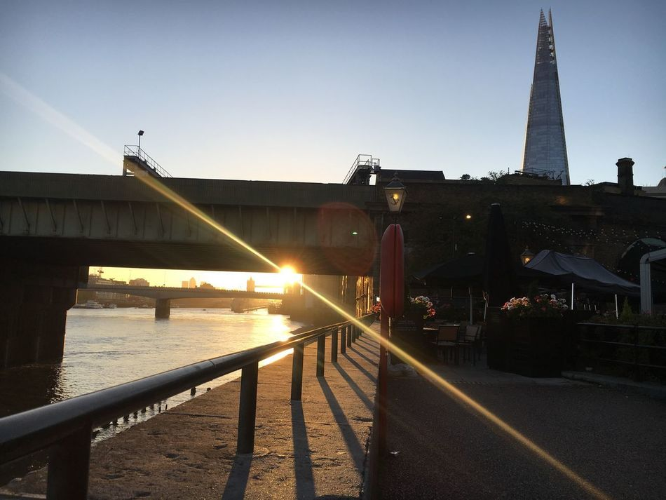 Architecture Built Structure Skyscraper London Thames River Shard Walking To Work Sunbeam Clear Sky Water City